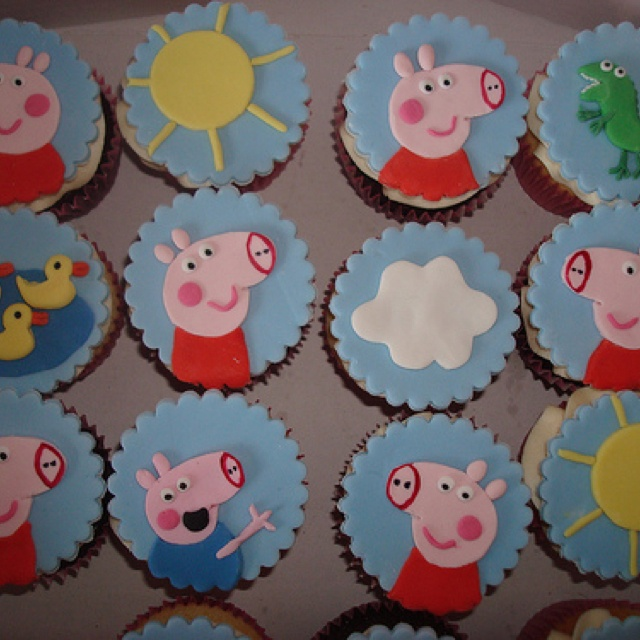 Peppa Pig Cake With Cupcakes On Board
