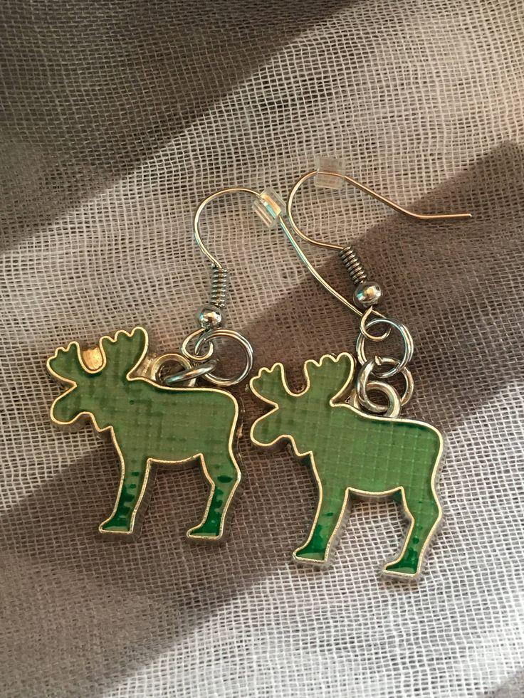 Handmade - Charm Earrings - Green Moose - Fishhook Earrings - Charm Jewelry Earrings - Newfoundland and Labrador - Salty Air Inspirations by SaltyAirInspirations on Etsy https://www.etsy.com/ca/listing/537762992/handmade-charm-earrings-green-moose
