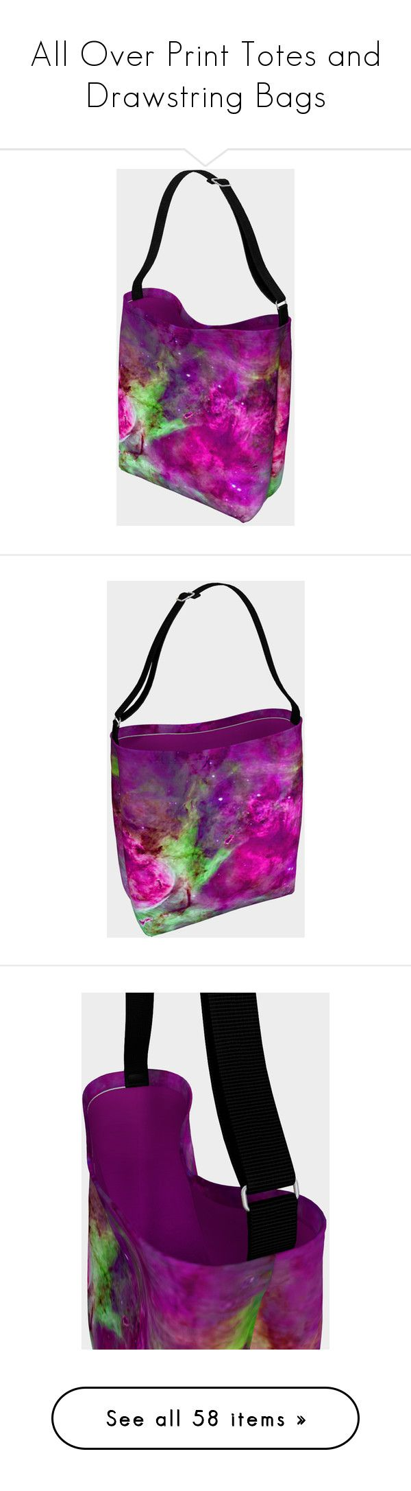 """""""All Over Print Totes and Drawstring Bags"""" by sandyspider ❤ liked on Polyvore featuring bags, handbags, tote bags, totes, accessories, tote handbags, white tote, white handbags, orange tote and handbags totes"""