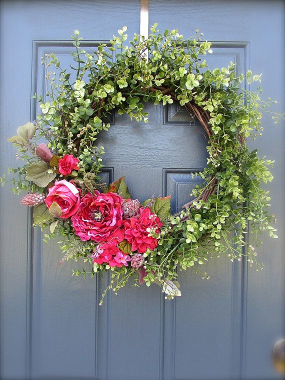 Spring wreath pink spring door wreath boxwood wreath Spring flower arrangements for front door