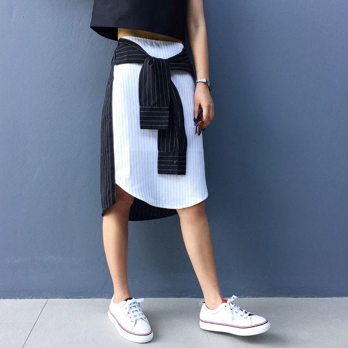 [TWOTWINSTYLE] оригинальный 2016 лето рукава сращены кружева полосатый шаблон хит цвет асимметричная юбка женщины новыйкупить в магазине TWOTWINSTYLEнаAliExpress