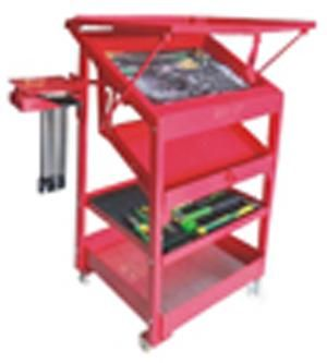 Tool Rack Grip On  Product Code : 23-008 Name : Tool Rack Type :  Size : See Below Description : Tool Rack Brand : Grip-On Unit : Set Gross Weight : 8 kg  Tool Rack Grip-on :  Height: 87.5cm length: 49cm width: 56.5cm  Side for T socket : width: 10cm lenght: 17cm  Upper Table : length: 56.5cm Tray 3 width: 47.3cm Height: 3.5cm height: 2cm Width: 42cm  Tray 1 : Height: 6.5cm; lenght: 48cm; width: 31cm  Tray 2 : height: 6.8cm; Lenght: 48cm; Width: 26.3cm  Tray 3 : Height: 3.5cm; Lenght: 48cm…