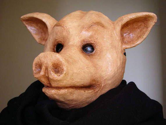 Masquerade mask Animal mask Pig mask Pig head Pig costume