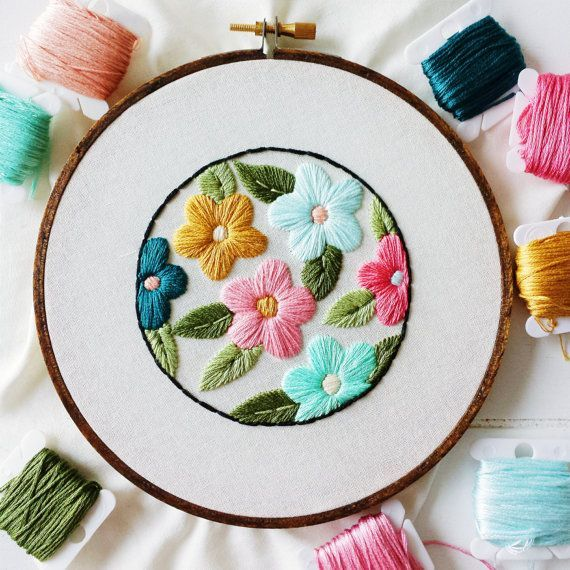 Retro Floral Embroidery Hoop Art - Ready To Ship  This is a one of a kind piece of artwork framed in a 6 hoop. It is ready to hang as the stained