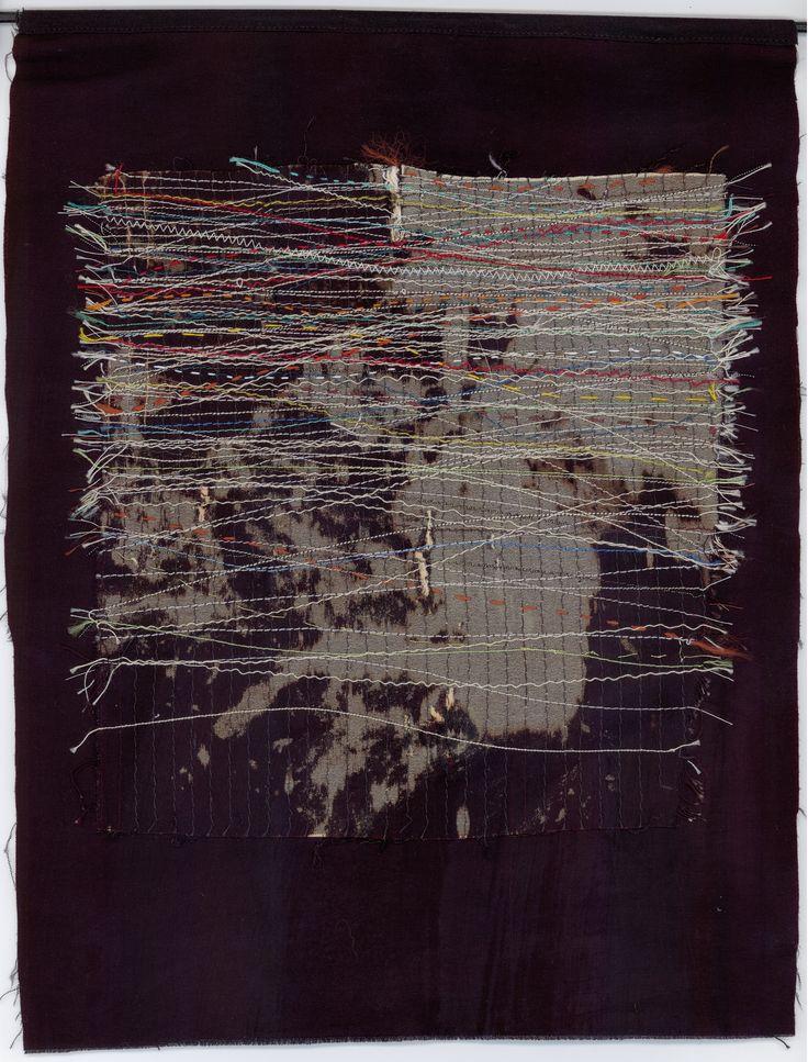 Night music. Machine and hand stitch on fabric