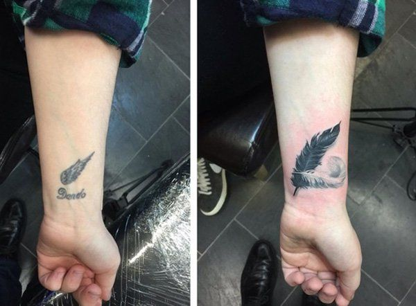 The thing about wrist tattoos is that these are smaller, and so it would be easier to cover up. The previous tattoo was a little wing and a name. Then those were covered by two feathers, one which is darker to entirely cover the first tattoo.