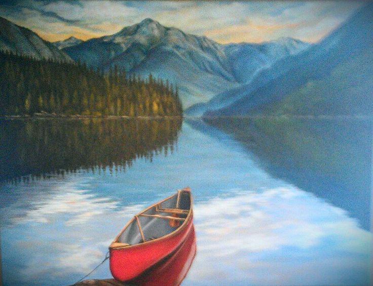 Red Canoe on Lillooet Lake by Karen Love hanging in Mile One Eating House, Pemberton Gateway Village Suites Hotel