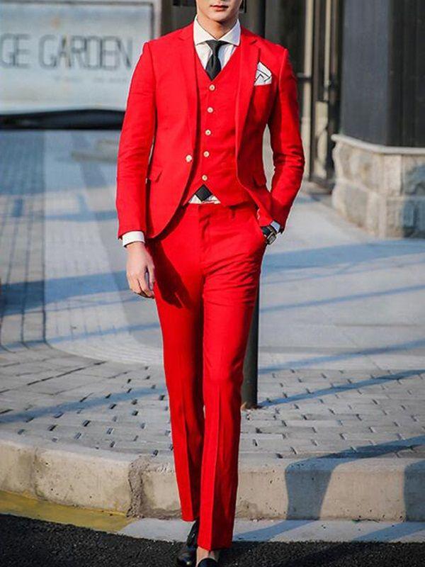 Solid Color Vogue Slim Three-Piece Men's Suit - Red