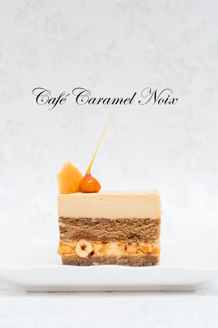 This cake has coffee genoise as a base, caramel coffee mousse & crunchy caramel hazelnuts.