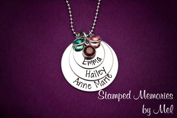 Mommy Necklace  Three Layered Hand Stamped by StampedMemoriesbyMel