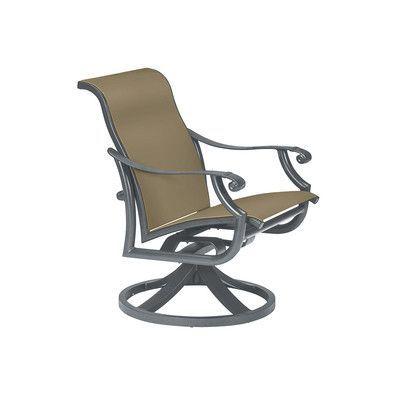 Tropitone Montreux Ii Swivel Patio Dining Chair Finish: Graphite, Fabric: Gold Coast