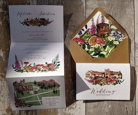 Wedding Venue Invitation Watercolour Invitation Woodland Map