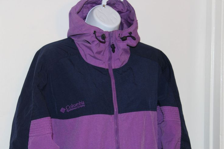 COLUMBIA SPORTSWEAR Hoodie Windbreaker Parka SZ X Purple & Black Full Zip #ColumbiaSportswear #Parka #Outdoor