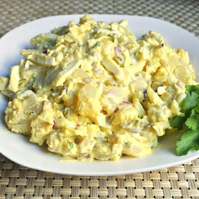 Mustard Potato Salad ~ 10 Medium Russet Potatoes, 1 1/2 tsp Sea Salt plus more for boiling, 3/4 c Lite Mayo, 1/2 c Sweet Pickle Relish, 1/4 c Yellow Mustard, 1/4+ tsp Black Pepper, 6 large hard-boiled eggs diced into cubes, 2 T each chopped Red Onion, chopped Celery & chopped flat-leaf Parsley, Celery Seed to taste.