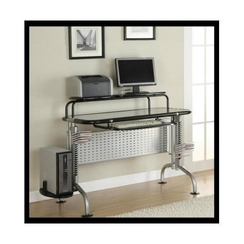 Glass-Computer-Desk-Table-Workstation-Student-CD-Office-Small-Ergonomic-Shelf-PC
