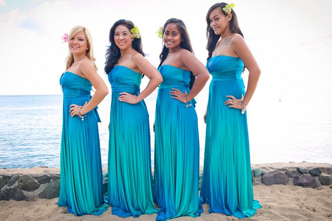 Hawaii Destination Wedding by Belle The Magazine ombre turquoise maxi bridesmaids dress tropical