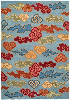 Tibetan fluffy clouds: our version of a classic Tibetan carpet design, originally derived from Ming dynasty Chinese silk textile motifs