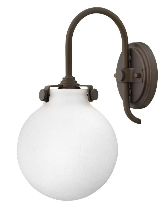 Hinkley Lighting 3173 1 Light Indoor Wall Sconce With Etched Opal Globe Shade Fr Oil Rubbed