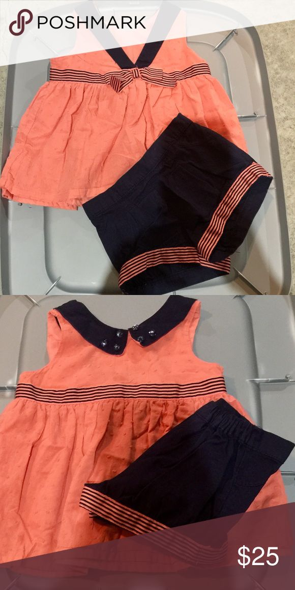 Coral and navy blue sailor outfit Coral and navy blue sailor outfit size 4 Matching Sets