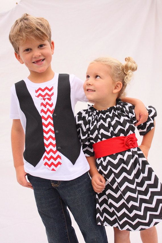 Sibling Christmas set brother sister chevron outfits by haddygrace