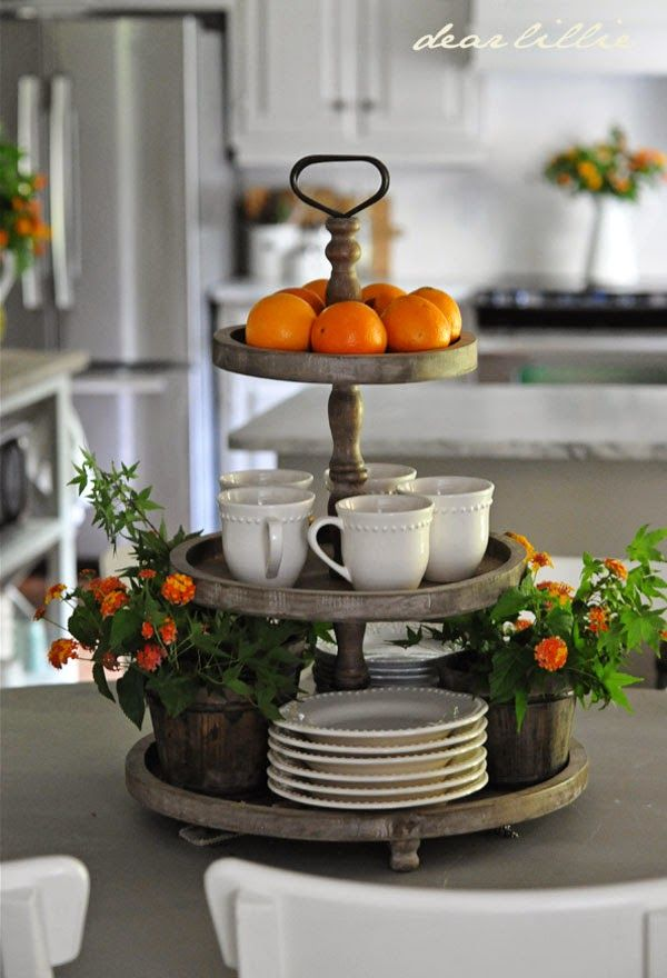 3 tier round display for the kitchen island decor and trays for Small kitchen table centerpiece ideas