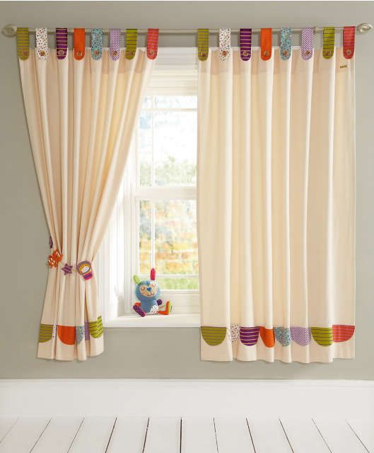Timbuktales - Tab Top Curtains...THIS SWEET IVORY CURTAIN W/COLORFUL PRINTED TAB TOPS (GREEN,ORANGE,PURPLE & BLUE) AND CORDINATING PLAYFUL TIEBACK WOULD BE ADOREABLE FOR A NURSERY OR TODDLERS BEDROOM....CHERIE