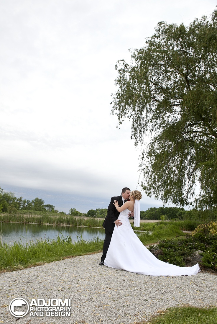 Bride and Groom by the pondThe Ponds