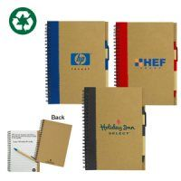 Handy cardboard 70pg notepad with matching pen.  This recycled note book is ideal to hand out at conferences, trade shows or staff to keep by their desks.  Made from recycled paper with recyclable colour trim.