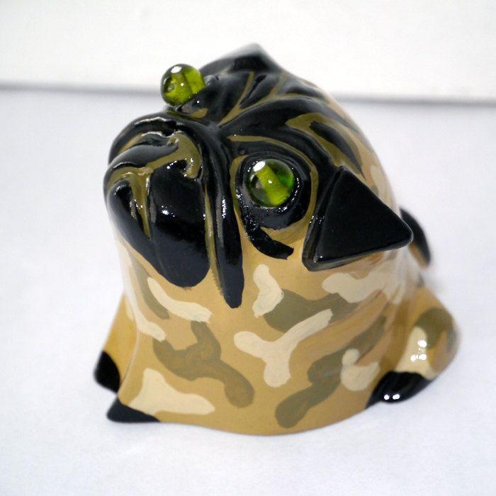 Dog Sculpture Pug Mops Carlin Green eyes Piglet, handmade painted pug figurine…