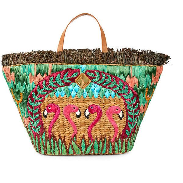 Aranaz Flamingo straw tote (3.018.625 IDR) ❤ liked on Polyvore featuring bags, handbags, tote bags, travel tote, handbags totes, zip top tote, fringe tote bag and straw handbags
