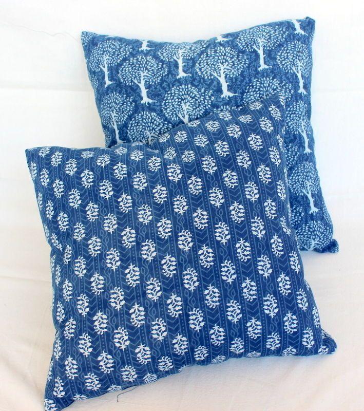 2 Pcs MIX Lot Indigo Blue Dye Dabu print cotton cushion cover shibhori pillows   #KhushiHandicraft #ArtsCrafts