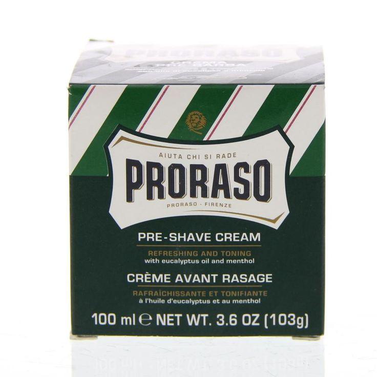 Proraso Green Pre-Shave Cream Crème Alle Baardtypen 100ml  Description: Proraso Pre-Shave Cream.Net als veel Proraso producten bevat deze unieke crème Eucalytpus olie. Een natuurlijk ingrediënt dat zowel kalmeert als de huid stimuleert. Voor gebruik voor het scheren: Bevochtig je gezicht en breng de Proraso crème aan. Dit zal verfrissen de huid en de baard verzachten. Daarna kunt u de scheerzeep aanbrengen.  Price: 7.45  Meer informatie