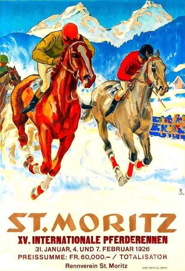 Horse Painting St Moritz X V International Horse Race 1926 By
