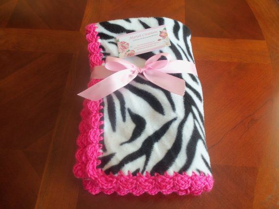 These make adorable, cuddly blankets!  Blanket is fleece with a hot pink, crocheted edge. @Leah Angelini Sweetman
