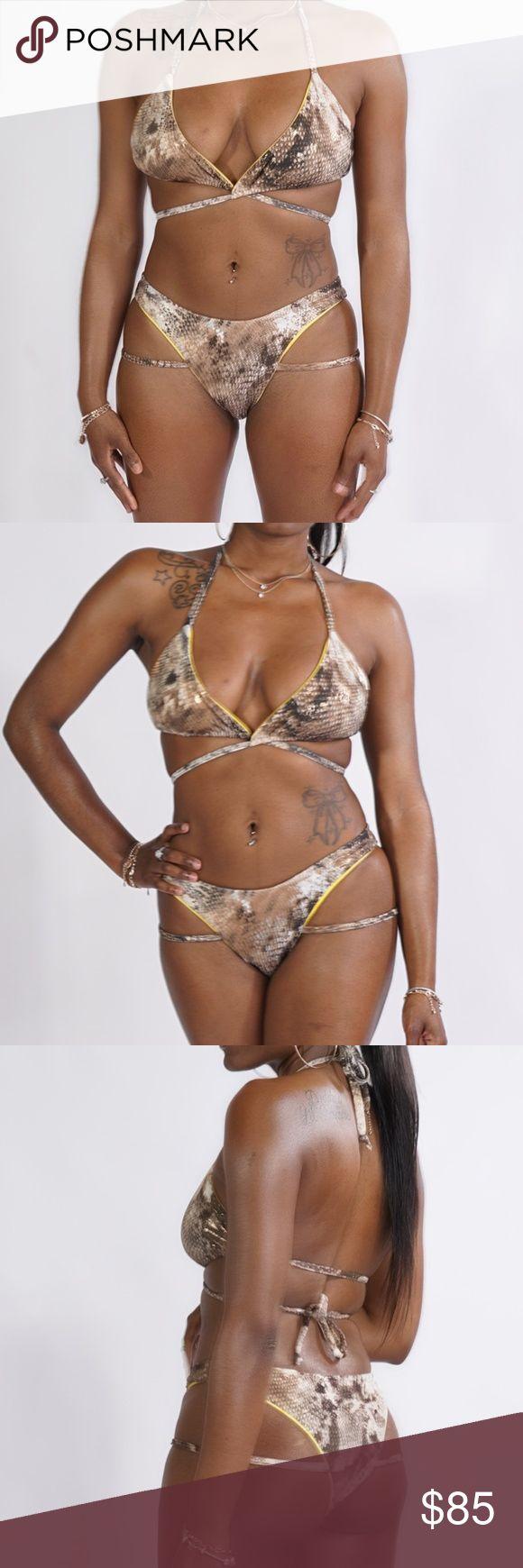 Reversible Snake Skin Wrap Bikini Hand sewn reversible snake skin swimsuit. Reve…