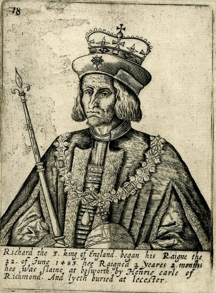 Portrait of Richard III, half length, wearing hat, crown and chain, and holding orb and sceptre; number 18 from a set of kings.  Engraving