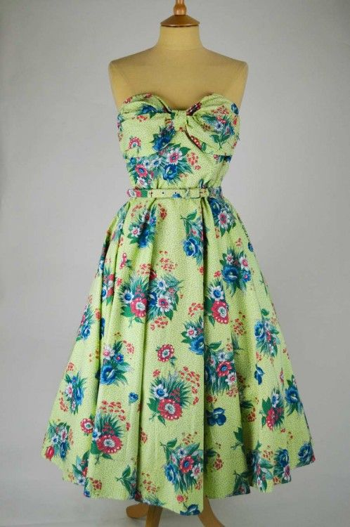 1950s Vintage Dress & Bolero Green Pink and Blue Pattern with Belt | Mela Mela Vintage
