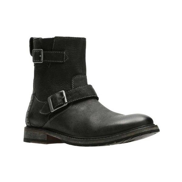 Men's Clarks Clarkdale Cash Biker Boot ($153) ❤ liked on Polyvore featuring men's fashion, men's shoes, men's boots, black, casual, leather boots, mens black biker boots, mens black motorcycle boots, mens biker boots and mens shoes
