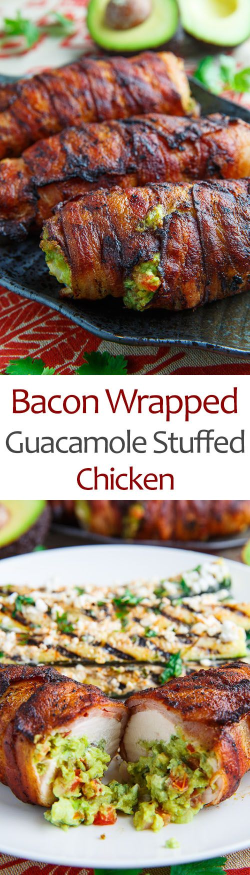 Just 3 ingredients, plus salt and pepper! Pound the 6-ounce chicken breasts, cut in half, spread with guac, and roll up each one in a slice of nitrate-free turkey bacon.