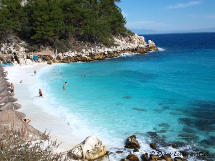 Marble beach in the little island of Thassos, Greece.