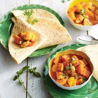 In twintig minuten zet je deze heerlijke kiproti met pompoen en mango op tafel.