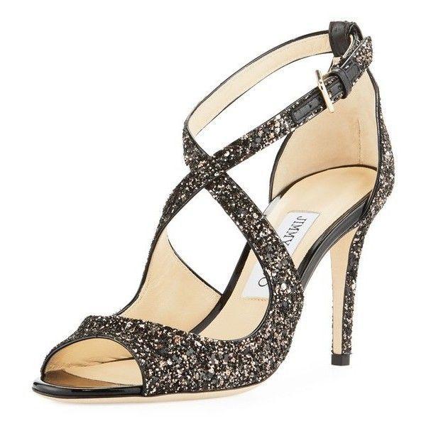 jimmy choo emily coarse glitter sandal 42 950 rub liked on rh pinterest com