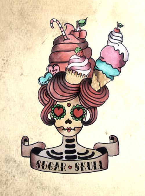 Sugar Skull cute art work. Cool tattoo idea, would have different things
