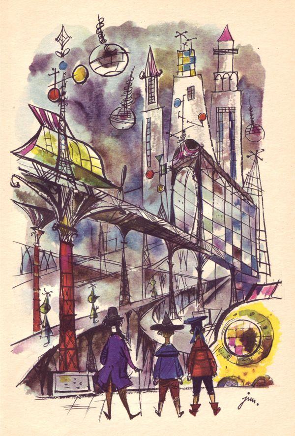 J. M. Szancer, illus. for Podroze Pana Kleksa by Jan Brzechwa (Poland, 1965).
