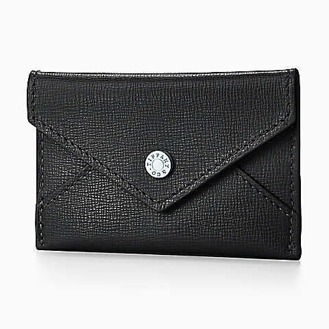 Envelope in black textured leather, small. More colors available.