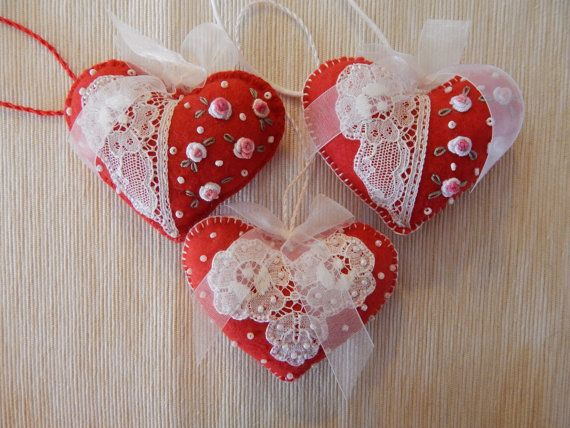 Valentine's Felt Hearts by cuoredamore on Etsy