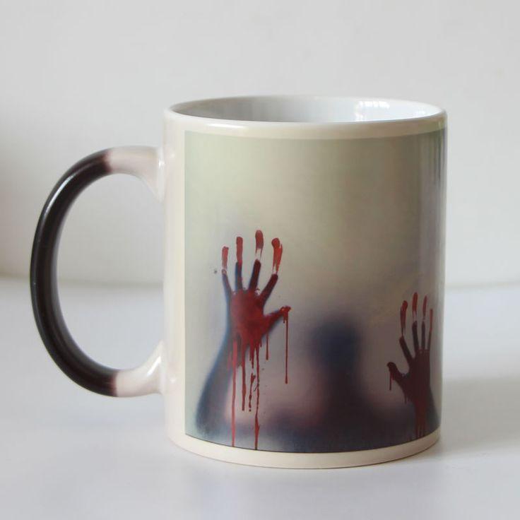 Newest Design Zombie  Color Changing Coffee Mug Heat Senstive Magic Tea cup Mugs Walking Dead Bloody hands gift