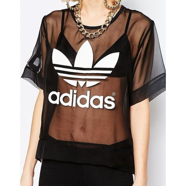 adidas Originals Sheer Woven T-Shirt With Trefoil Logo ($54) ❤ liked on Polyvore featuring tops, t-shirts, sheer top, adidas trefoil t shirt, short sleeve tee, see through tops and short sleeve t shirt