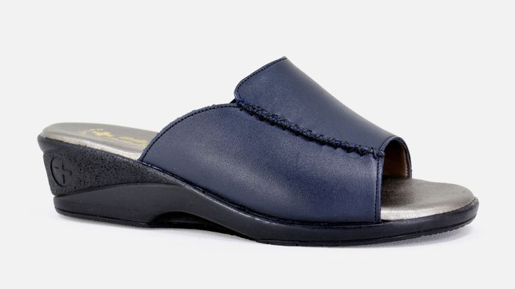 Natural Steps Handmade Genuine Leather low wedge slip on Sandal. Health range. R 549. Colour: Navy Handcrafted in Durban, South Africa.  Code: 841