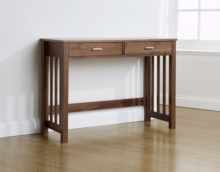 Westwell Solid Wood 2 Drawer Console Table With Walnut Veneer